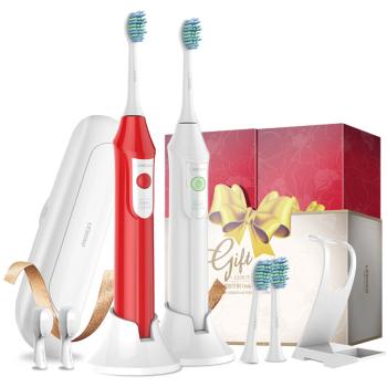 电动智能牙刷 充电式成人蜜爱礼盒两支装(白+红)