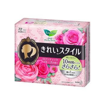 花王卫生护垫14cm72片棉柔亲肤玫瑰香*2包