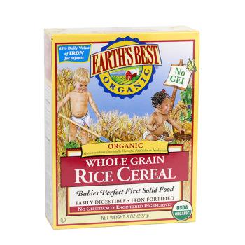 保税区直发 美国Earth's Best世界最好1段宝宝营养高铁有机米粉纯大米(红色装4个月以上227g)